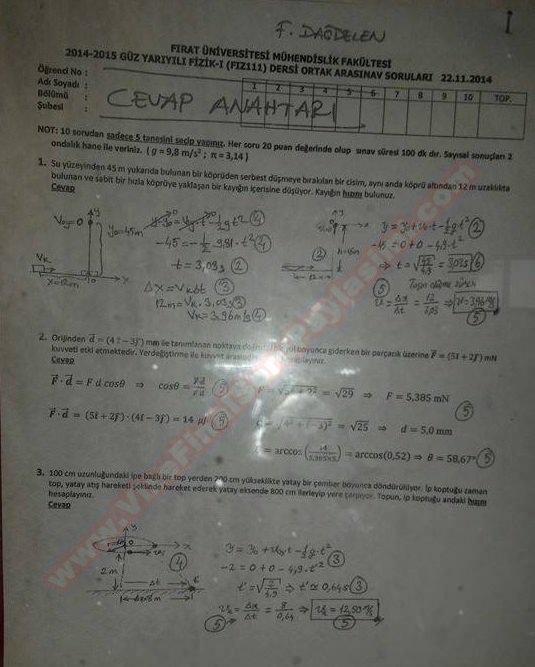 Fizik-1 vize soruları ve cevapları - 2014