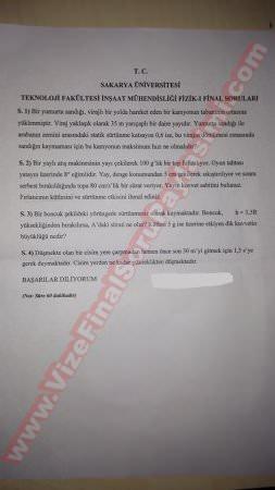 Fizik-1 final soruları - 25.12.2014