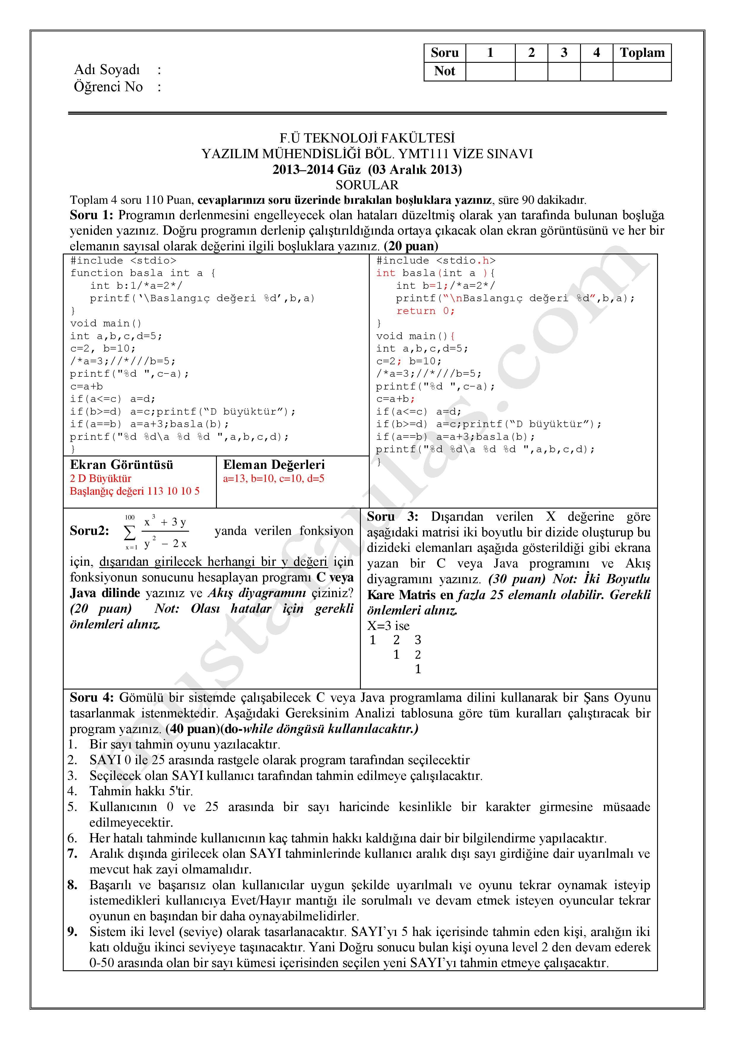 Algoritma ve programlama dersi vize soruları 2013 vize ve final