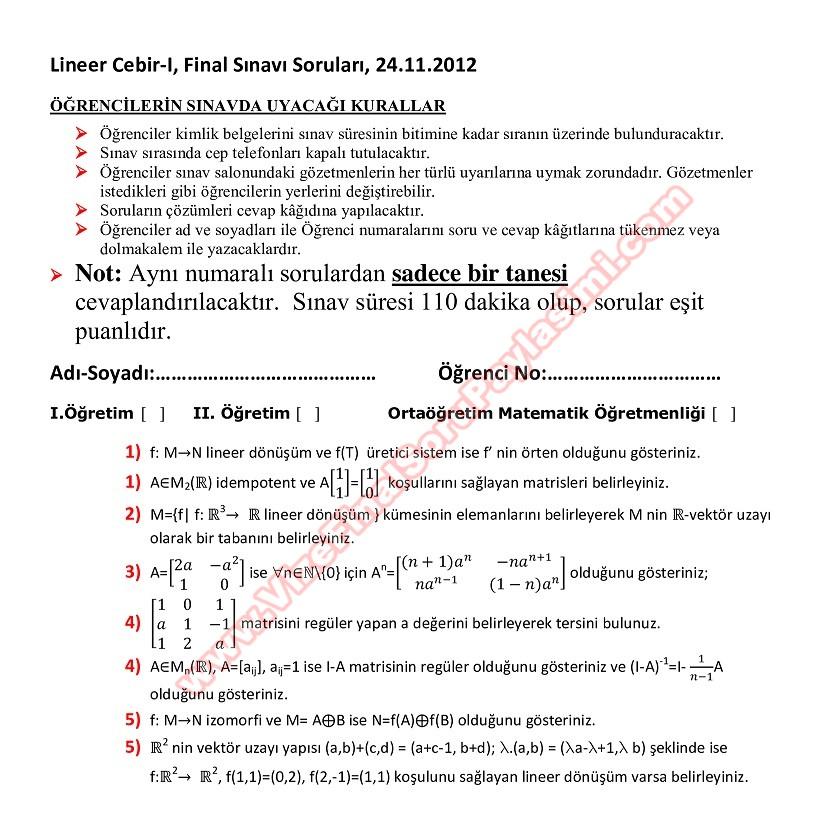 Lineer cebir 1 final soruları
