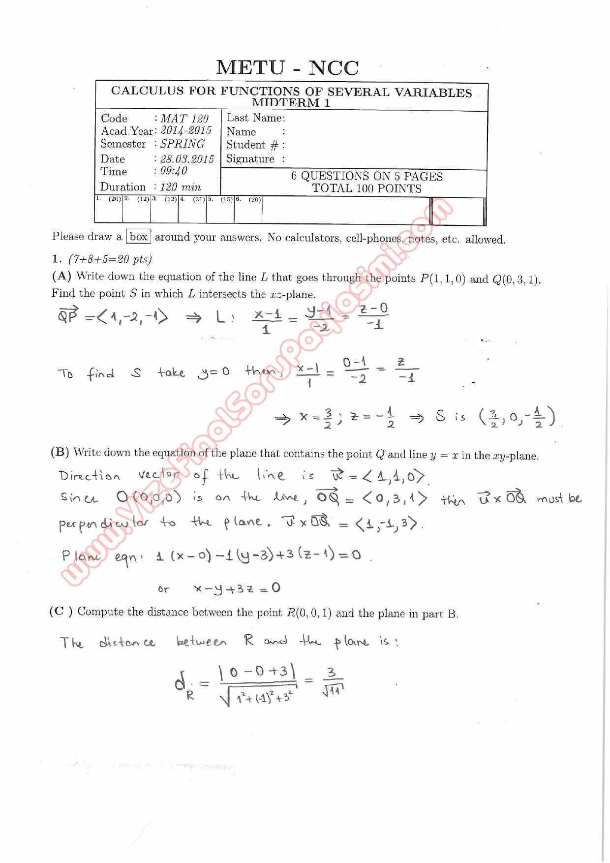 Midterm exam questions 2015 Homework Sample - September 2019