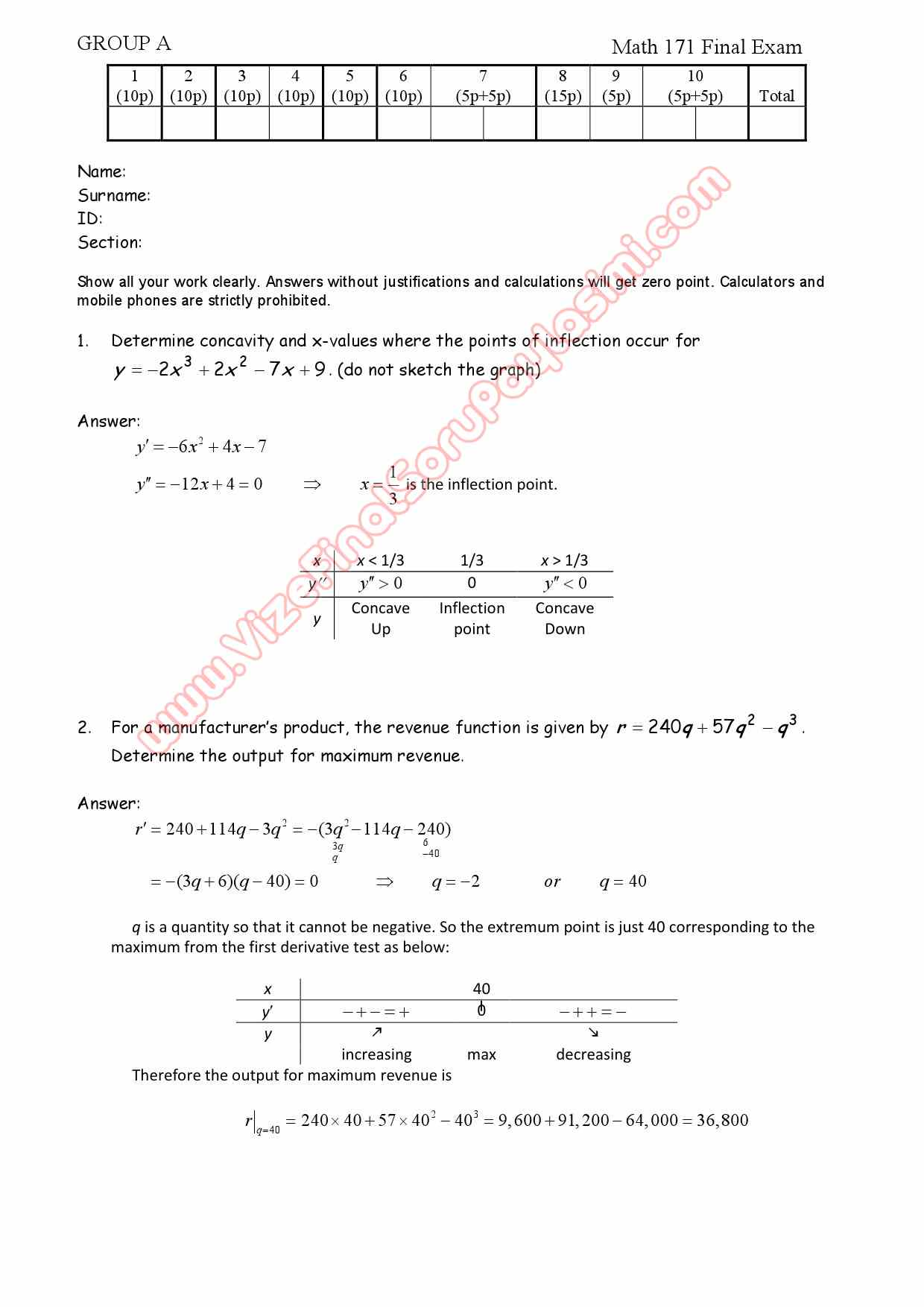 Calculus for Business and Economics-1 Final Exam Questions and