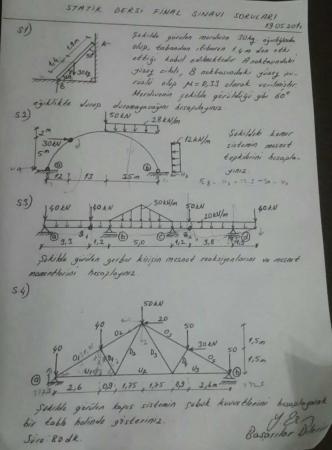 Statik Dersi Final Soruları