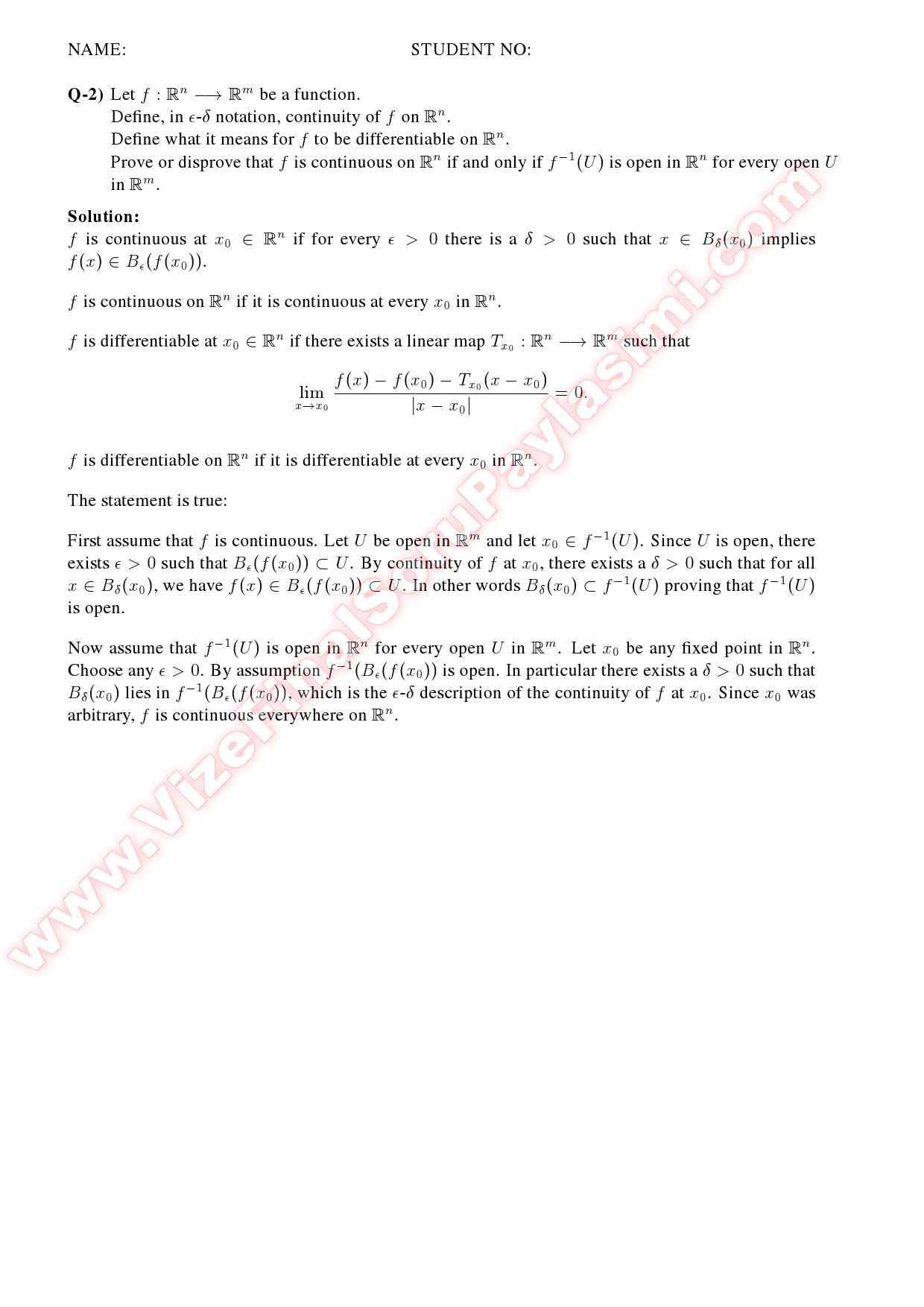 Advanced calculus - Homework Sample
