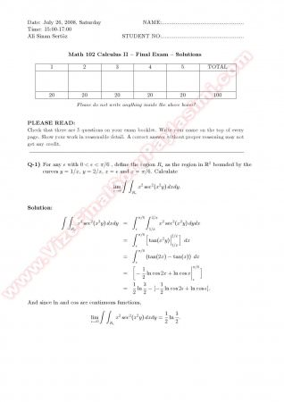 Calculus2 Final Solutions - 2008
