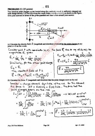 Physics-2 First Midterm Questions and Solutions 2000