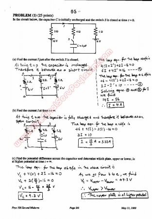 Physics-2 Second Midterm Questions and Solutions 2000