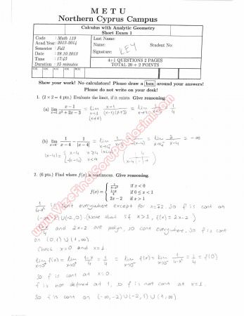Calculus With Analytic Geometry First Short Exam Questions and Solutions Fall 2013