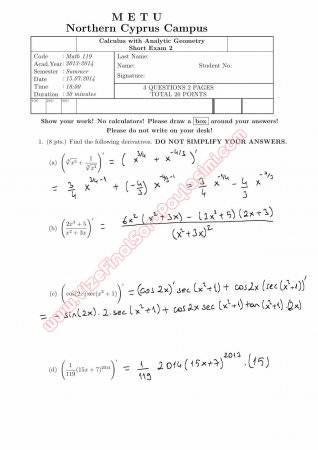 Calculus With Analytic Geometry Second Short Exam Questions and Solutions Summer 2014