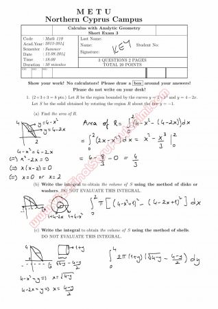 Calculus With Analytic Geometry Third Short Exam Questions and Solutions Summer 2014