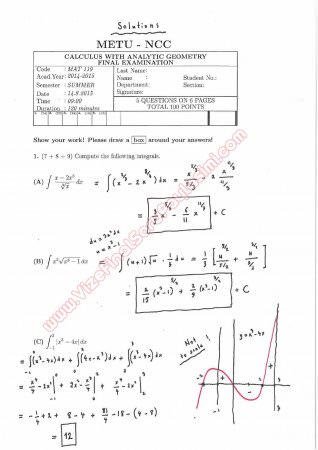 Calculus With Analytic Geometry Final Questions and Solutions 2015