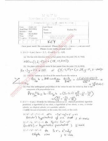 Calculus For Functions Of Several Variables First Short Exam Questions And Solutions Fall 2013
