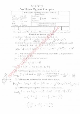 Calculus For Functions Of Several Variables First Short Exam Questions And Solutions Spring 2013