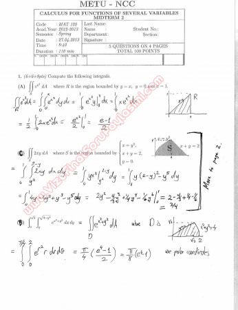 Calculus For Functions Of Several Variables Second Midterm Exam Questions And Solutions Spring 2013
