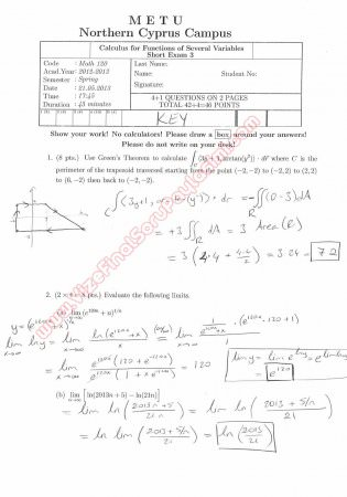 Calculus For Functions Of Several Variables Third Short Exam Questions And Solutions Spring 2013