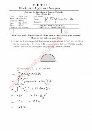 Calculus For Functions Of Several Variables Second Short Exam Questions And Solutions Spring 2014