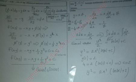 Riccati diferansiyel denklemler çözümlü sorular