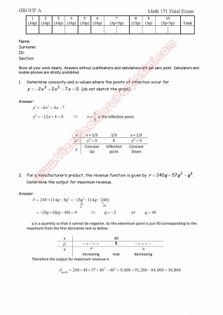 Calculus for Business and Economics-1 Final Exam Questions and Solutions