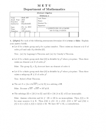 Abstract Algebra Second Midterm Exam Questions