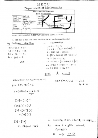 Basic Algebraic Structures First Midterm Exam Questions