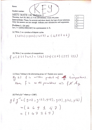 Basic Algebraic Structures Second Midterm Exam Questions