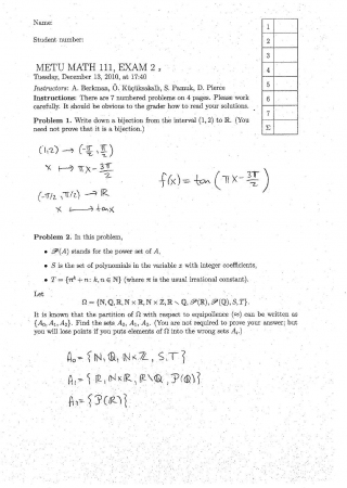 Fundamentals of Mathematics Second Midterm Exam Questions