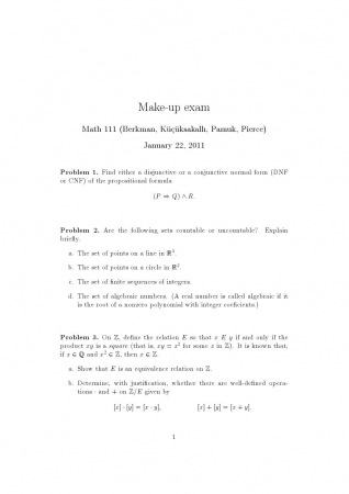 Fundamentals of Mathematics Make Up Exam Questions