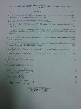 Mühendislik Matematiği Dersi Final Soruları