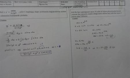 Mühendislik Matematiği Final Soruları - Teknoloji Fakültesi