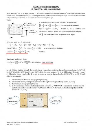 Isı Transferi -1 Vize Soruları Ve Cevapları