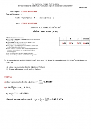 Malzeme Bilimi 1.Kısa Sınav Soruları ve Cevapları 1.Öğretim