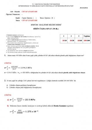 Malzeme Bilimi 1.Kısa Sınav Soruları ve Cevapları 2.Öğretim
