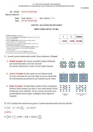 Malzeme Bilimi 2.Kısa Sınav Soruları Ve Cevapları 2.Öğretim
