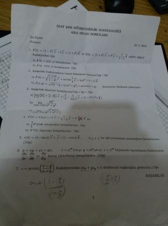 Mühendislik Matematiği Vize Soruları - 2016