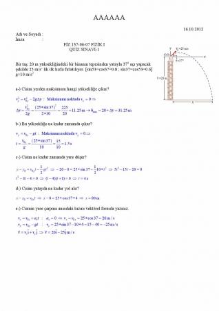 Fizik -1 Quiz Soruları ve Cevapları -1