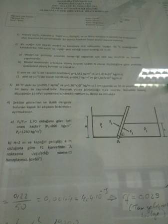Akışkanlar Mekaniği Dersi Final Soruları