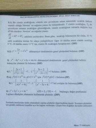 Diferansiyel Denklemler Dersi Final Soruları