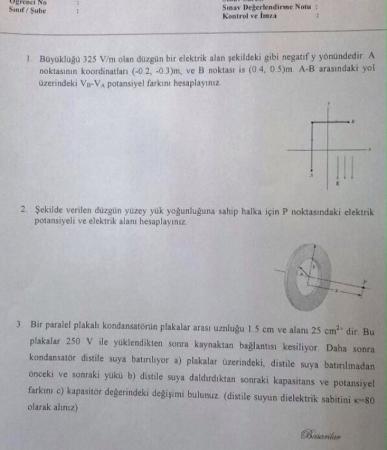 Fizik -2 Vize Soruları