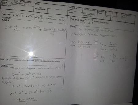 Matematik -1 Final Soruları ve Çözümleri