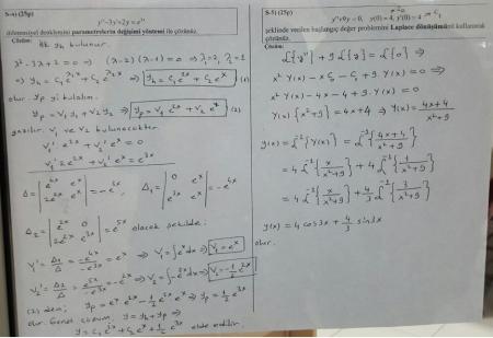 Mühendislik Matematiği Final Soruları - 2016