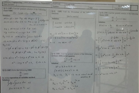 Engineering Mathematics Final Exam Questions