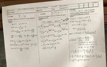 Diferansiyel Denklemler Dersi Final Soruları - 2017