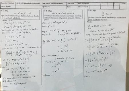 Mühendislik Matematiği Final Soruları ve Çözümleri