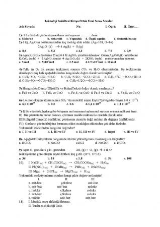 Kimya Dersi Final Soruları ve Cevapları - 2017