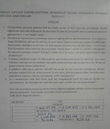 Mühendislik Ekonomisi Dersi Final Soruları ve Cevapları
