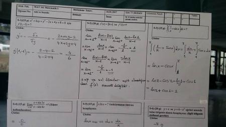 Matematik -1 Bütünleme Soruları ve Çözümleri - Müh. Fakültesi