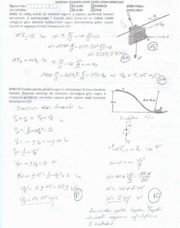 Dinamik Dersi Final Soruları ve Cevapları - 2017
