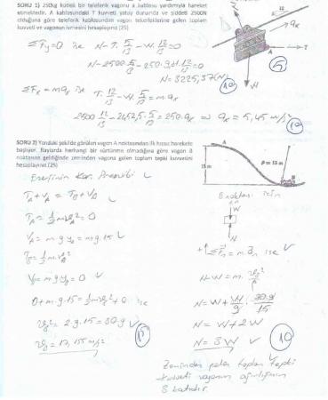 Dinamik Dersi Bütünleme Soruları ve Çözümleri - 2017