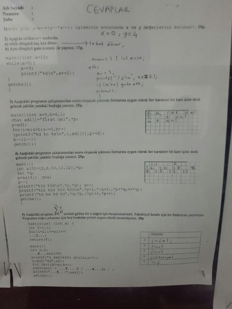 Algoritma ve Programlama Dersi Final Soruları ve Cevapları