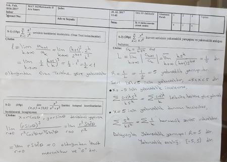 Matematik -2 Vize Soruları ve Çözümleri - 2017